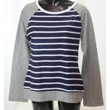 Champion t-shirt Easy manica lunga con maniche tinta unita e corpo a righe orizzontali blue bianco Champion - (P/E)
