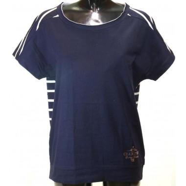 Champion t-shirt dona easy manica corta tinta unita davanti e a righe orizzontali dietro - (P/E)