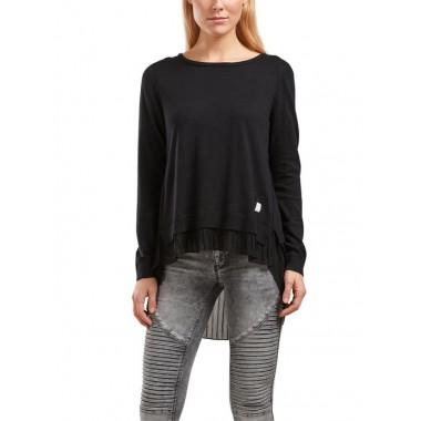 Only maglia giro collo con tessuto plissettato mod. Lynn - (P/E)