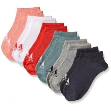 Adidas calze basse conf 6 paia rosso/grigio/bluette/giallo/nero/bianco - (A/I)