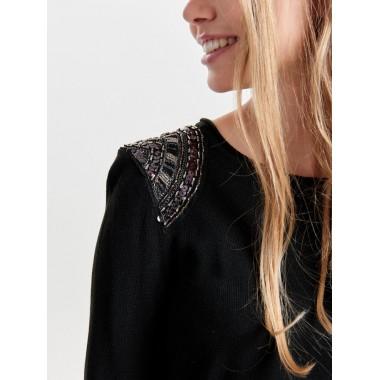 Only maglia giro collo inserto pallettes sul braccio mod.Davina - (A/I)