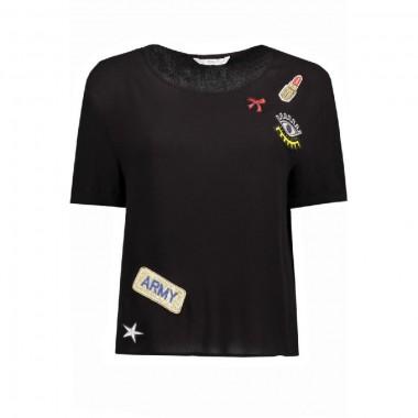 Only camicia giro collo mezza manica con applicazioni petch mod Brier - (P/E)