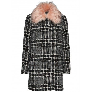 ONLY cappotto Check con pelliccia mod. Dory - (A/I)
