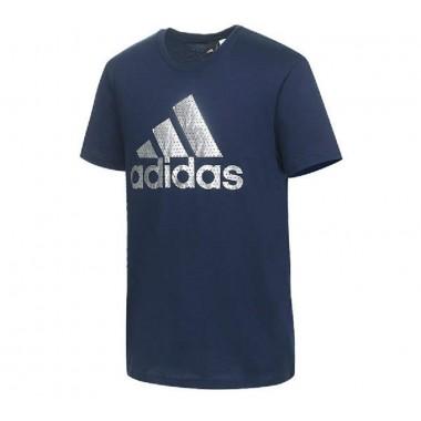 adidas t-shirt giro collo con logo argento mod.bos foil - (P/E)