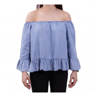 only top in jeans con riccio mod. seco - (P/E)