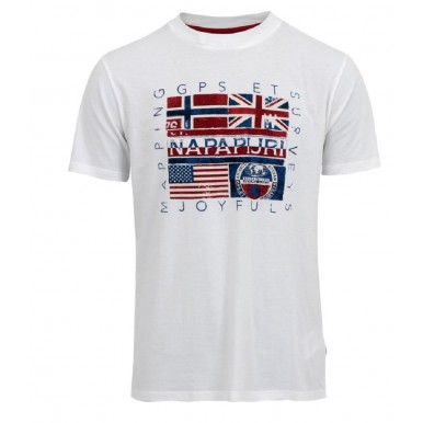 napapijri t-shirt m/m con bandiera sul davanti modello sachu - (P/E)