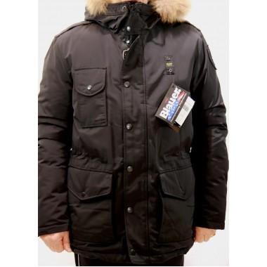 Blauer giaccone in piuma naturale con cappuccio con pelo naturale staccabile - (A/I)