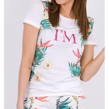 LIU-JO  t-shirt manica corta fantasia floreale