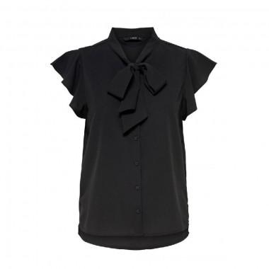 camicia senza maniche righe con fiocco al collo modello Elena