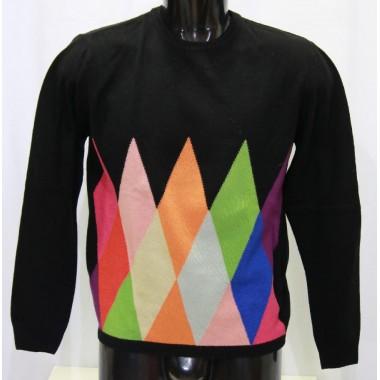Wool& co maglia giro collo misto cachemire con rombi colotati e schiena tinta unita