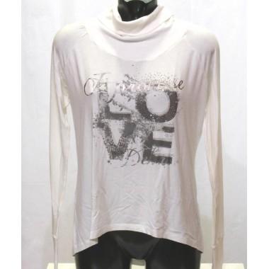 T-shirt manica linga e collo alto con stampa Deha