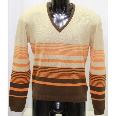 Wool&co maglia  leggera con fantasia a righe orizzontali